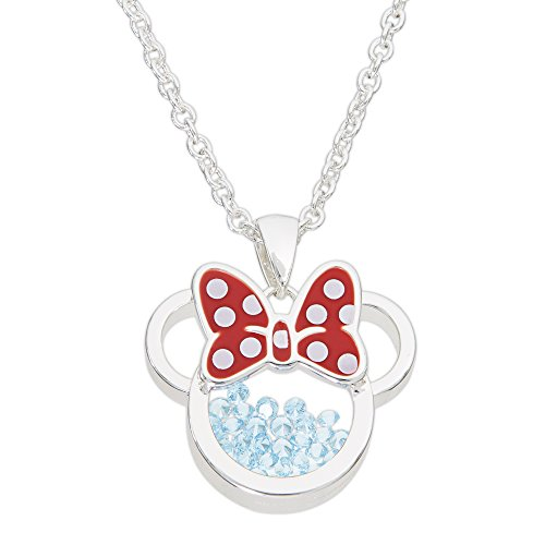 Disney Birthstone Women and Girls Jewelry Minnie Mouse Silver Plated March Aquamarine Light Blue Swarovski Cubic Zirconia Shaker Pendant Necklace, 18+2' Extender