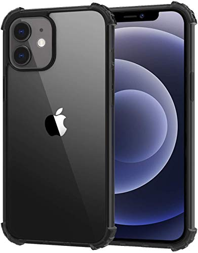 MoKo Compatible with New iPhone 12 Case/iPhone 12 Pro Case 6.1 inch 2020, Reinforced Corner Shockproof TPU Bumper & Anti-Scratch Anti-Yellow Hard Panel Cover - Crystal Clear&Black