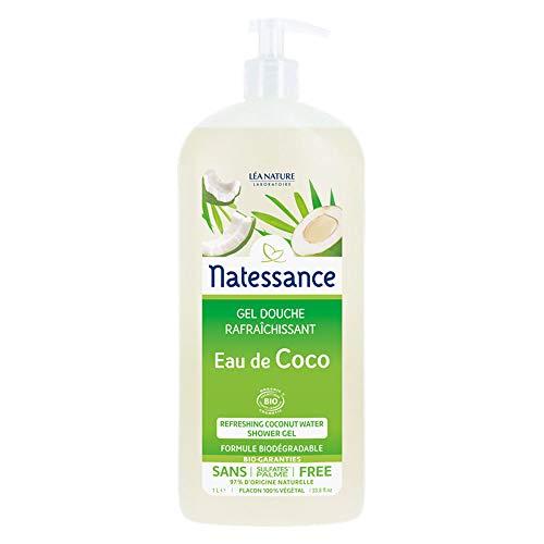 Natessance Gel Douche Rafraîchissant Eau de Coco Certifié Biologique Cosmos Organic sans Sulfates/Huile de Palme Flacon Pompe 1 L