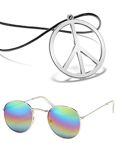 BOMAIL Hippie Dressing Accessory Set Hippie Glasses and Peace Sign Necklace