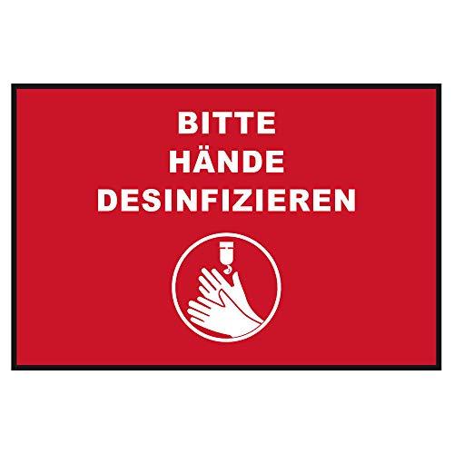 """Novus Hinweismatte """"Hände desinifzieren"""" (Querformat 60 X 90 cm) Rot mit weißer Schrift"""