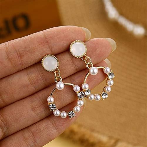 LASISZ Pendientes de aro de Perlas extragrandes para niñas Pendientes de círculo Grande Joyas de Moda geométricas, 16