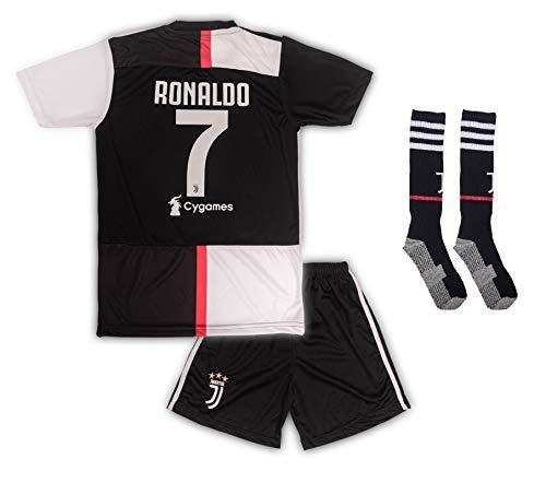Juventus #7 Cristiano Ronaldo Trikot Set 2019-2020 Heim Kinder Fußball Trikot mit Shorts & Socken Kindergrößen