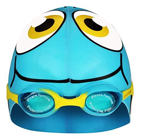 SCHREUDERS SPORT per Bambini Waimea Cuffia da Nuoto in Silicone Pesce con Occhiali, Bambino, Waimea, Light Blue/White/Black/Yellow, Universale