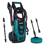 VONROC Hidrolimpiador a presión VONROC 2200W - 170 bar - 450 l/h - Incluye 8m de manguera, tanque de detergente integrado, limpiador de patio, boquillas y accesorios