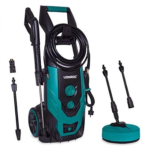 VONROC Hidrolimpiador a presión VONROC 2200W - 170 bar - 450 l h - Incluye 8m de manguera, tanque de detergente integrado, limpiador de patio, boquillas y accesorios