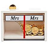 Geschenke 24 - Hucha con texto 'Mr & Mrs', color blanco, divertido regalo de dinero para novios, hucha de boda decorativa de madera, regalo personal para boda