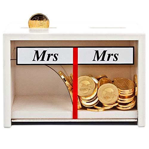 Geschenke 24 Spardose Mr & Mrs Weiß – lustige Geldgeschenke fürs Brautpaar – Hochzeit Sparbüchse Deko Holz – persönliches Geschenk zur Hochzeit (Weiß)