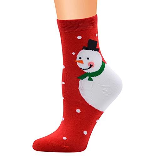 Xiangdanful Weihnachtssocken, Unisex Christmas Stockings Hüttensocken,Weihnachtsmann Rentier Schneeflocke Socken,Damen Herren Baumwolle Wintersocken, Mädchen Strümpfe,Mittlere (One Size, K-Rot)