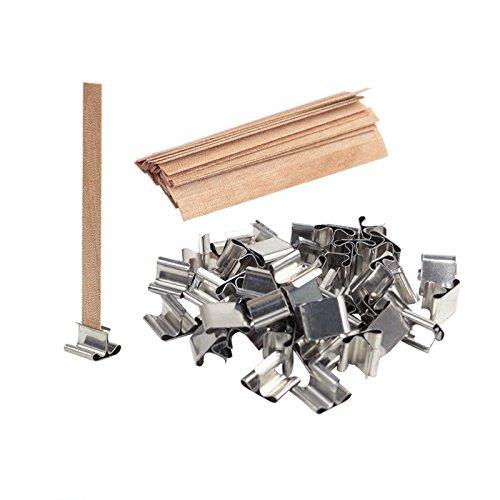 Candela in legno naturale stoppino con ferro stoppino stand titolari per fare paraffina soia cera candela 50 set
