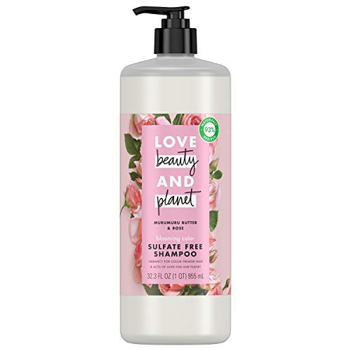 Love Beauty And Planet Blooming Color Sulfate-Free Shampoo for Color Treated Hair Murumuru Butter & Rose, Vegan, Paraben-free, Silicone-free, Cruelty-free 32.3 oz
