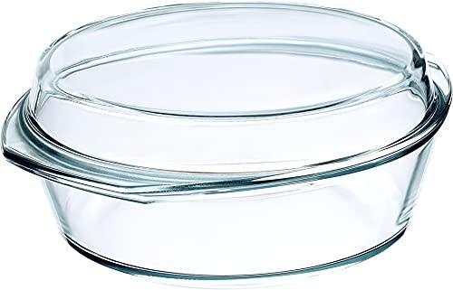 Simax Asador Redondo 3,5 L + Tapa 1,6 L, 26.8 x 26.8 x 9.3 cm, Transparente