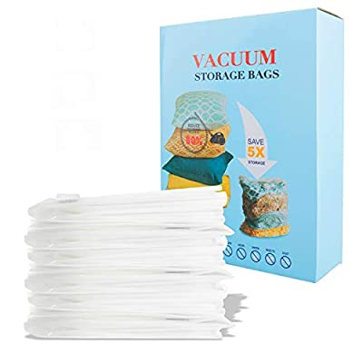 Vacuum Storage Bags-80% Space Saver Multiple Sizes Double-Zip Seal Reusable Compression Storage Bags for Clothes Blankets Duvets Pillows Comforters Travel(8 Pack)