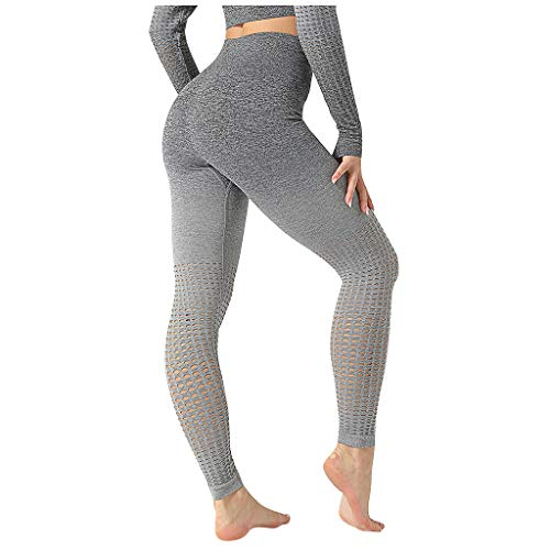 Fenverk Damen Leggings Set, Jogginghose High Waist Yoga Hose Herz Sporthose Frauen Elastisch Leggins Push Up Fitnesshose Gym Workout Tights,Sport Leggings,Tights,Ballettstrumpfhose(A Grau,M)