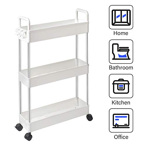 SOLEJAZZ Storage Cart 3-Tier Slim Mobile Shelving Unit Rolling Bathroom Carts with Handle for Kitchen Bathroom Laundry Room Narrow Places