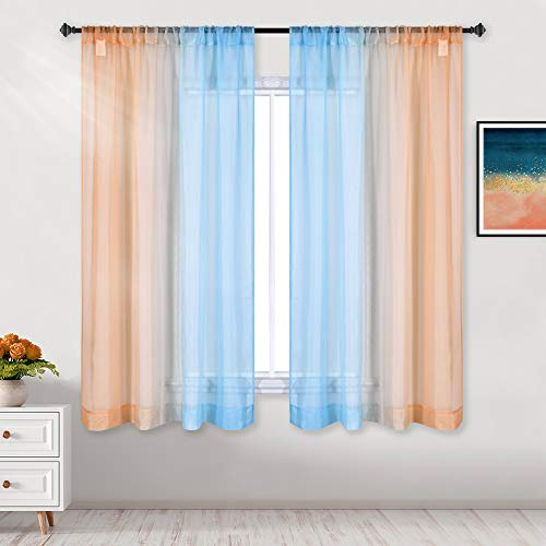 DECOVSUN Orange and Blue Curtains 63 Inch Length for Bedroom Wedding Party Backdrop Decor Rod Pocket Window Sheer Drapes Transparent Sea Turquoise Ombre Sunset Curtains for Kids Room 2 Panels 52 x 63