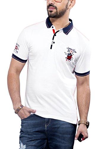 Maniac Men's Cotton T-Shirt (300034-L, white blue, Large)