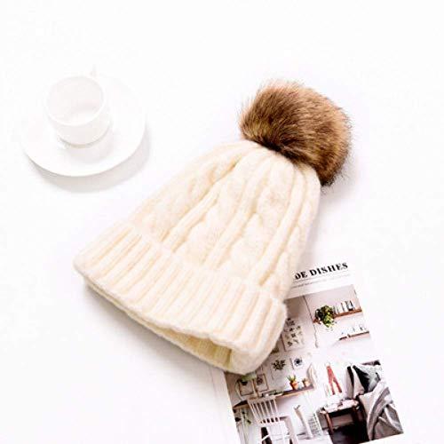 Sombrero De Moda Invierno Mamá Mujeres Sombrero De Punto De Ganchillo Niña Niño Pompom Gorros Sombreros