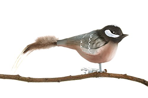 Thüringer Weihnacht Glas-Vogel, Tannenmeise mit Naturfeder, Grau, 15 x 4,6 x 6 cm