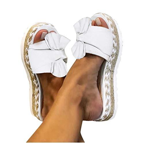 Sandalias de mujer informales Dasongff para verano, con cuña y puntera alta, con plataforma, informales, planas, con arco, elegantes, para la playa