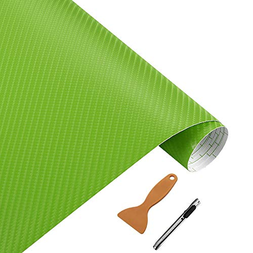 NewL Rollo de vinilo de fibra de carbono verde 3D con película adhesiva de liberación de aire, incluye herramientas de instalación (verde, 30 cm x 152 cm)