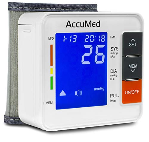 AccuMed ABP801 Portable Wrist Blood Pressure Monitor with One-Touch Automatic Measurement, 4-in-1 Functionality for Systolic/Diastolic BP, Heart Rate(BPM), Hypertension Guide, Arrhythmia Alerts