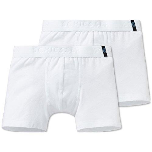 Schiesser Jungen 95/5 2pack Shorts Boxershorts, Weiß (Weiss 100), 104 (2er Pack)