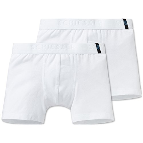 Schiesser Jungen 95/5 2pack Shorts Boxershorts, Weiß (Weiss 100), 128 (2er Pack)