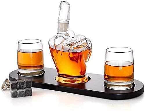 Conjunto de decantación de whisky reutilizable, 1000ml Dedo medio Decantadores Whisky Dispensador de botellas Ocasiones - Cumpleaños, Navidad, Aniversario 3.11 (Color: Transparente, Tamaño: 1000ml)