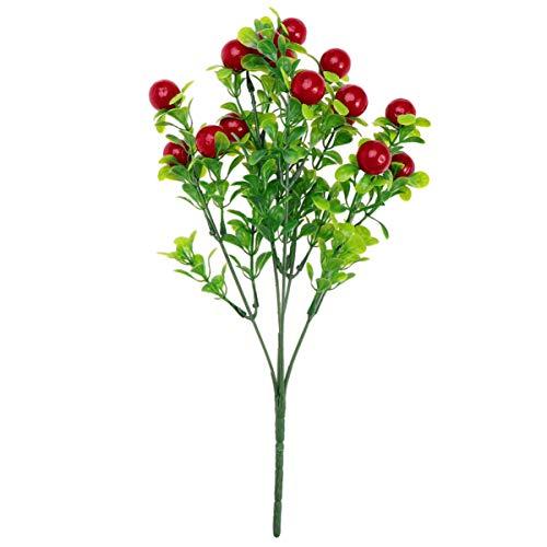 Lioobo 5 peças de flores artificiais, decorações de flores artificiais falsas com decoração de mesa de aniversário de feriado de fúria (vermelho)