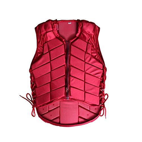LGQ Chaleco Protector Ecuestre, Chaleco para Eventos, absorción de Golpes, cómodo, Ajustable, Transpirable para Hombres, Mujeres, niños, niños,Rojo,L