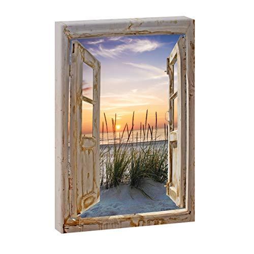 Bild auf Leinwand Fensterblick Hochformat   Sonnenuntergang am Meer - 60x40 cm Wandbild im XXL-Format, Leinwandbild mit Kunstdruck ungerahmt, Landschaftsbild fertig auf Holzrahmen gespannt