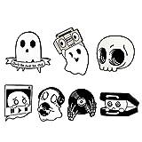 XCSM 7 Piezas de Halloween Esmalte Pin Set Skull Ghost Broches Anatomía Corazón Pins Punk Broche Joyería para Mujeres...
