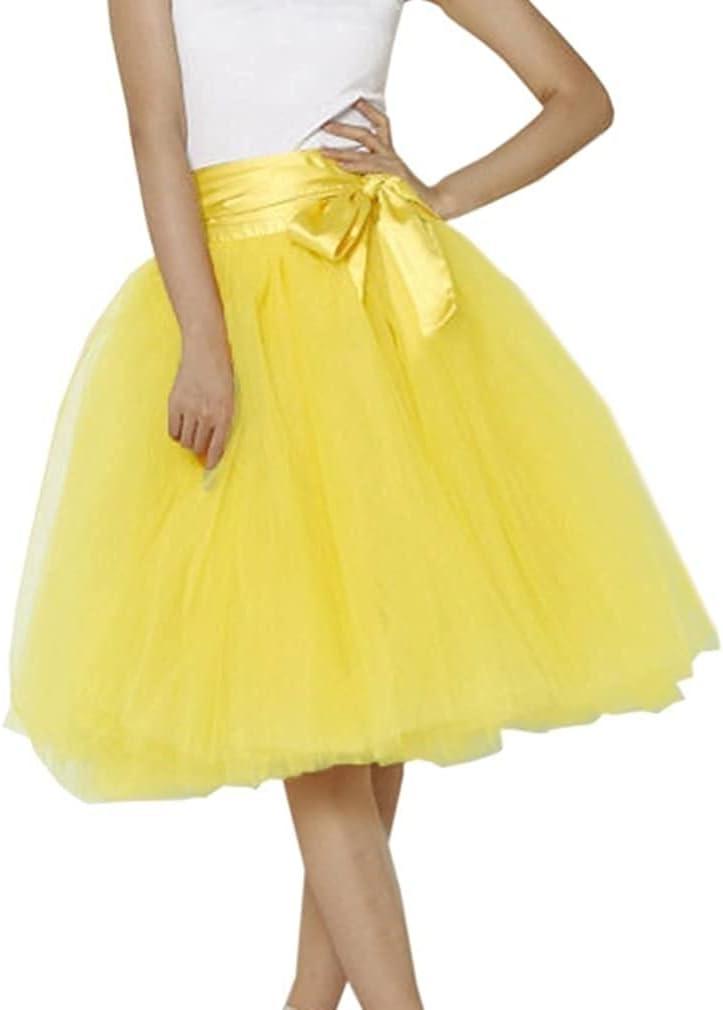 Women's XL Long Skirt, A-line Short Skirt, Tulle Long Skirt, Tulle Wedding Dress, Tulle Dress (Color : Yellow, Size : Medium)