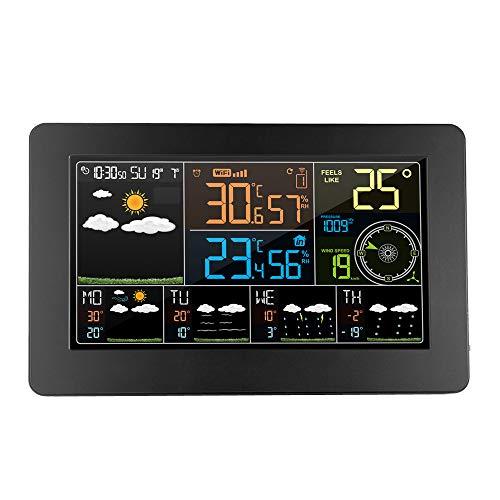 ACHNC Estacion Meteorologica WiFi con App Teléfono, Monitor meteorológica Inalámbrica,Termómetro Higrómetro con Exterior Sensor, Atmosférica Viento Humedad Previsión Tiempo,Pantalla LCD Colorida