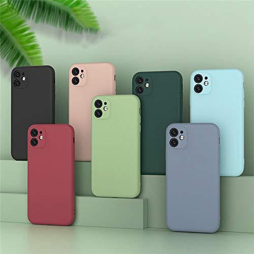 YABAISHI Simple Color Puro líquido Mate iphone12minmini Apple 11pro MAX Caja del teléfono móvil 7 / 8plus Todo Incluido XR (Color : Cherry Blossom Pink, Size : Iphone11pmax)