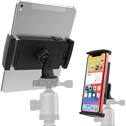 Adjustable Tablet Tripod Mount Phone Holder [2 in 1] 360 Degrees Rotation Compatible with iPad Air Mini iPhone, APPS2Car Universal Tripod Adapter Clamp Stand Attachment for Video Recording Vlogging