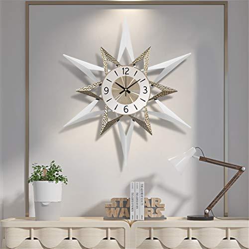 LHY NEWS Reloj De Pared Grande Salon,80Cm Reloj Mudo, Sala De Estar Decorativa para El Hogar Reloj De Cuarzo Reloj Grande En La Pared,Blanco,80cm