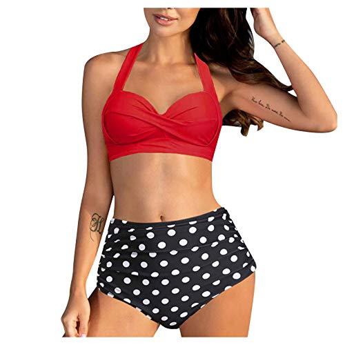 Traje de baño vintage de dos piezas para mujer con soporte retro de cintura alta, juego de tankini de tallas grandes, traje de baño push-up, ropa de playa rojo S