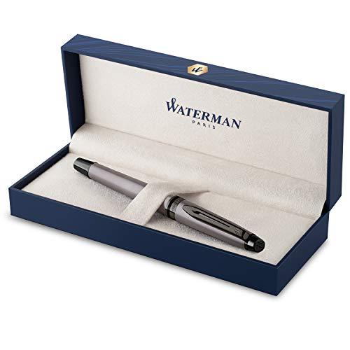 Stylo Plume Waterman Expert | Laque argentée métallisée avec finitions ruthénium |Plume fine en acier inoxydable avec revêtement PVD | Encre bleue | Étui cadeau
