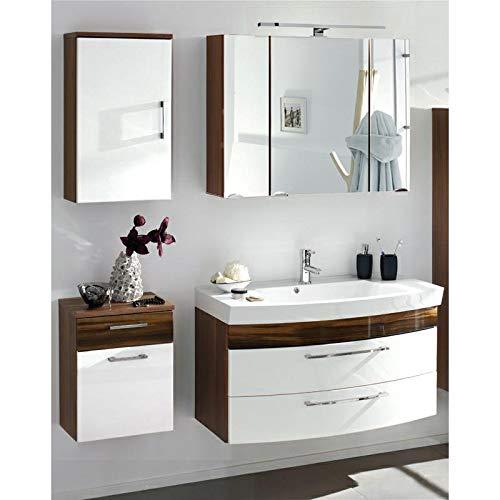 Lomadox - Juego de Muebles de baño (Nogal, 100 cm), Color Blanco
