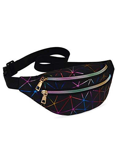 LIVACASA Riñoneras Mujeres de Moda Riñoneras Deportivas Impermeables Plegable Brillante Bolsas de Cintura Running Paseo de Marcha PU Material Unisex Negro