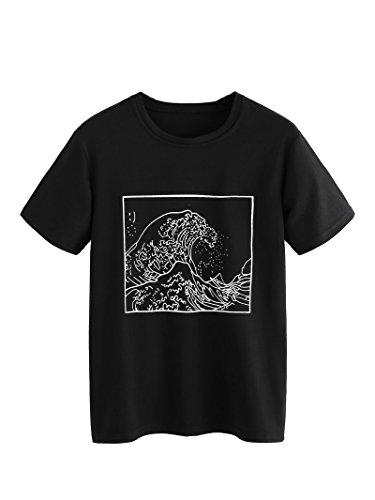 ROMWE Women's Short Sleeve Top Casual The Great Wave Off Kanagawa Graphic Print Tee Shirt Black XL