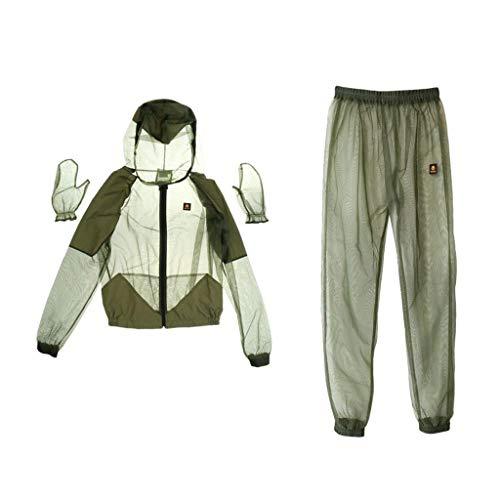 Anti Moskito Anzug Schutzanzug Moskitoanzug mit (Jacke, Hosen, Handschuhe)Ganzkörperschutz gegen Insekten (Zeckenschutz) (Armee grün,Asien XXL= (EUR XL))