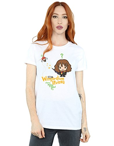 HARRY POTTER Mujer Hermione Granger Wingardium Leviosa Junior Camiseta del Novio Fit Medium Blanco