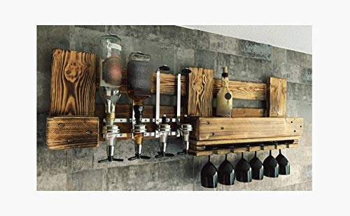 Rustikales WANDBAR Regal mit 4 Getränkespender, inkl. 4 Dosierer Proportionierer für Cocktail´s, Gin, Longdrinks im Industrial Vintage Landhaus Stil, Hausbar Butler, Weinregal aus Palettenholz