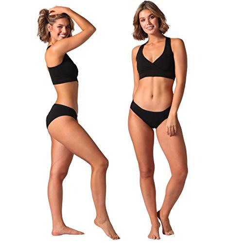 Bambody Absorbent Midi Brief: Period Panties   Menstrual & Incontinence Underwear… (2 Pack: Black + Black, Large)