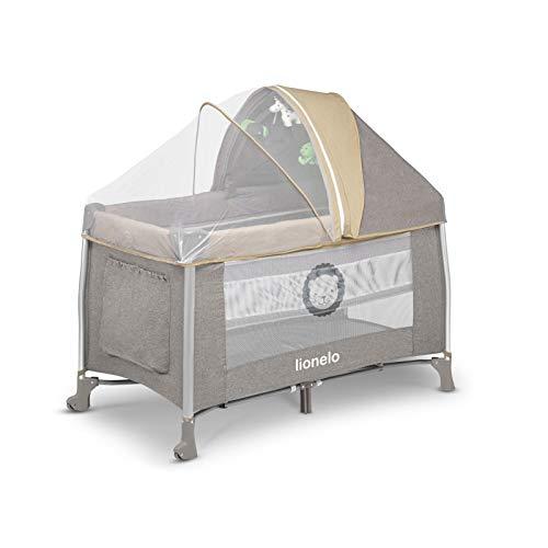 Lionelo Simon 2in1 Reisebett Baby, Laufstall Baby ab Geburt bis 15kg, Spielkarussell mit Spielzeug, Moskitonetz, zusammenklappbar (Sand) - 4