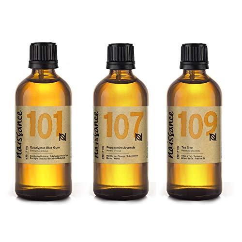 Naissance Trío de Aceites Esenciales de Eucalipto, Menta y Árbol de Té 3 x 100ml - 100% puros, veganos y no probado en animales.
