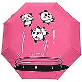 Niedliche Cartoon Panda Jump Trampolin Pink Auto Regenschirm Winddicht, Reise Robust UV-Schutz...